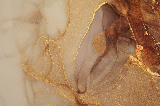 Art Abstract  watercolor flow blot painting. Color canvas marble texture background. Gold glitter Alcohol ink.