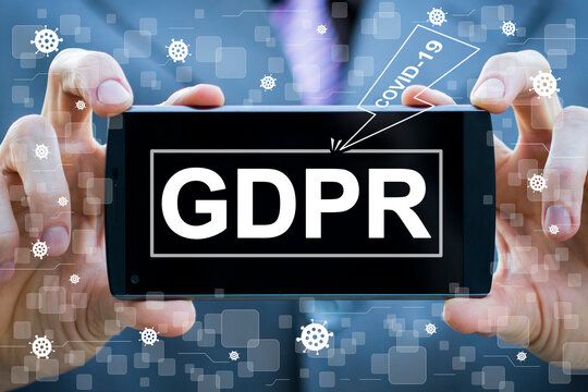 Violation GDPR General Data Protection Regulation with the threat of coronavirus. Businessman holding phone with icon GDPR Internet Technology and Privacy Concept.