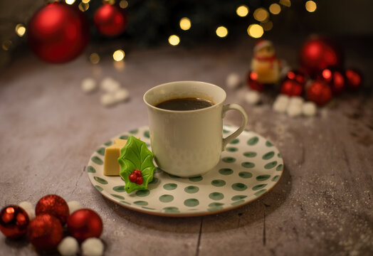 cup of coffee with christmas chocolate