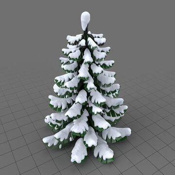 Stylized fir tree with snow