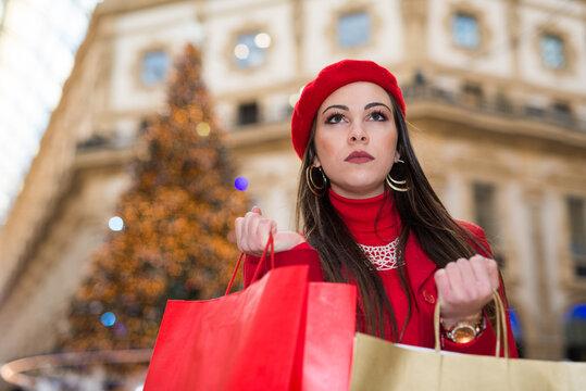 Woman shopping before Christmas