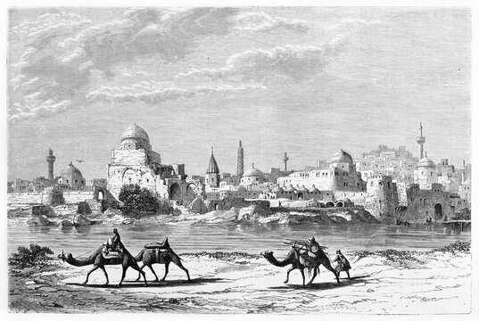 Mosul arabian warm cityscape from bank of Tigris river walked by people on camels. Ancient grey tone etching style art by Flandin, Le Tour du Monde, 1861