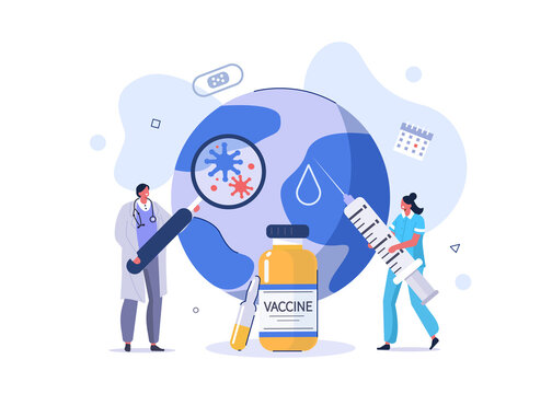 Doctor and Nurse Preparing For Global Vaccination against Coronavirus. Covid Vaccine ready for Clinical Trial. Immunization Campaign Concept. Flat Cartoon Vector Illustration.