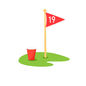 19th hole icon. Clipart image isolated on white background.