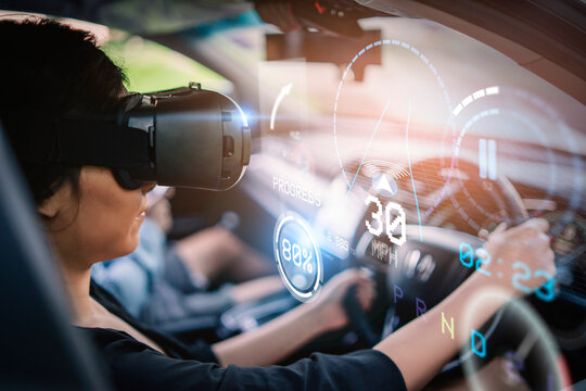 Woman driving simulation using virtual reality headset driving test HUD Head Up Display and digital instruments panel autonomous car user interface navigation driving utility screen smart technology