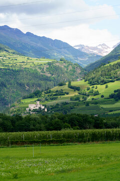 Summer landscape along the cycleway of the Venosta valley