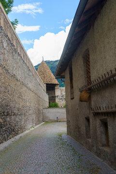 Glorenza, historic village in Venosta valley. Walls