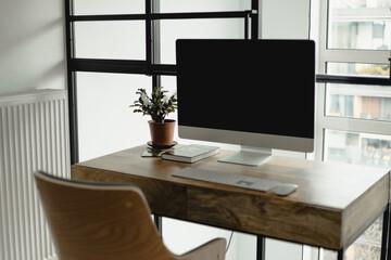 Fototapeta praca zdalna home office mieszkanie w stylu loftowym obraz