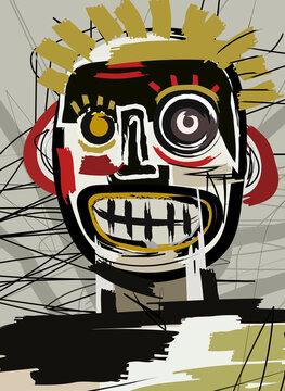 outsider brut art face portrait doodle cartoon