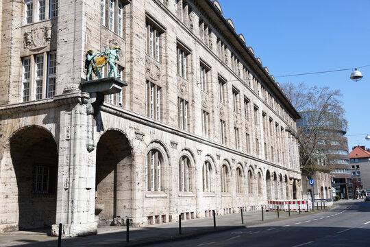 Hanover, Lower Saxony, Germany - April 12, 2020: Headquarters of Bahlsen in Hanover Germany - Bahlsen is a German food company