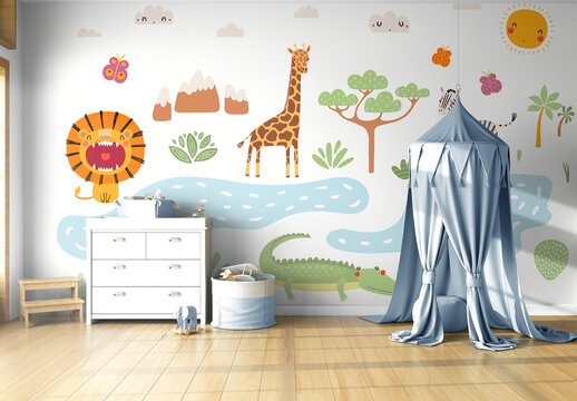 Wall Mural Mockup in Baby's Room