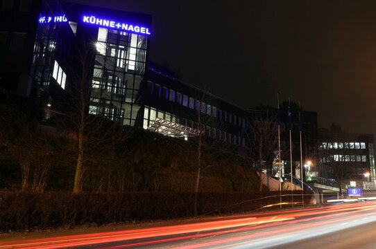 Logo of Swiss logistics group Kuehne + Nagel is seen at its headquarters in Schindellegi