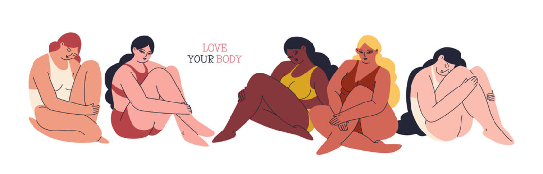 Love your body. Horizontal banner with young women of different skin colors, sizes and types. Multicultural girls sit in a row in swimsuits embracing themselves. Vector stock illustration isolated.