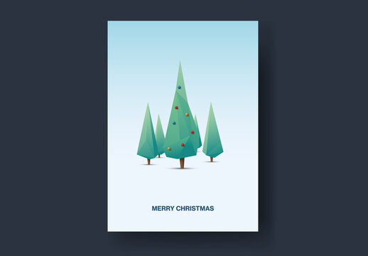 3D Geometric Christmas Tree in Woods Card