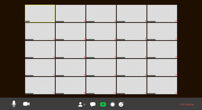 Screen video conference. Video call interface. Online meeting template. Screen of twenty five video conference cells on a computer. Vector illustration