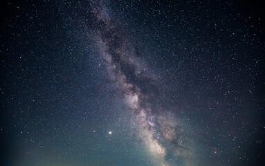 Wall Mural - Gorgeous night landscape with bright Milky Way.