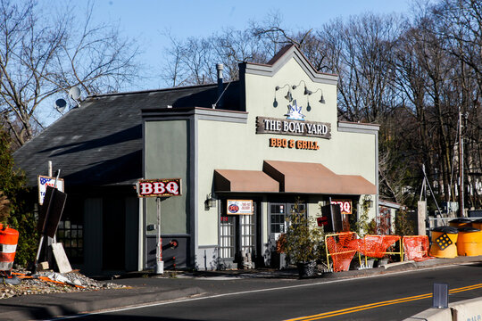 STAMFORD,CT, USA-NOVEMBER 29 2020:  Stamford border line with The Board Yard BBQ and Grill