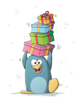Penguin with gifts. Hand drawn vector illustration with separate layers.