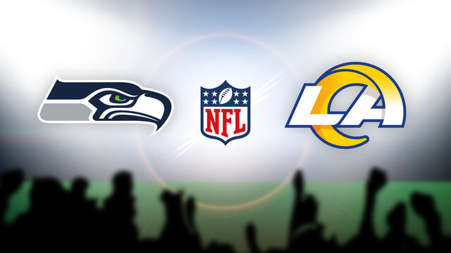 NFL Seattle Seahawks vs Los Angeles Rams vector illustration.