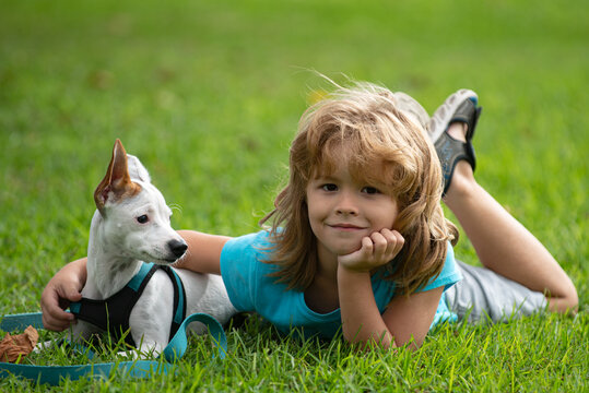 Smiling Little boy sitting on the grass with funny doggy. Happy child playing with dog on lawn.