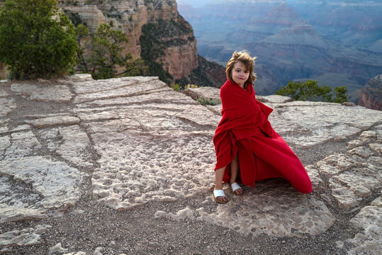 Child on mountain landscape. Canyon National Park, United States. Kids on the nature.