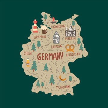 Vector collection for medical institutions and training schools. Beautiful pictures of medicine. Hand-drawn illustration of a map of Germany with City names. Concept of traveling through a German