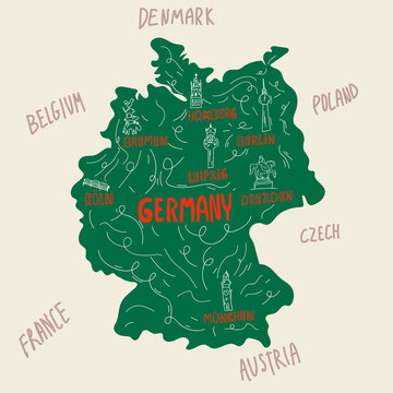 Symbols of Germany and places of interest on the map. Cities on the map Germany, Germans, German, Hamburg, Berlin, Leipzig, Munich. Symbols of cities. Concept of traveling through a German Country