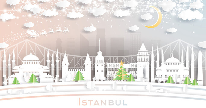 Istanbul Turkey City Skyline in Paper Cut Style with Snowflakes, Moon and Neon Garland.