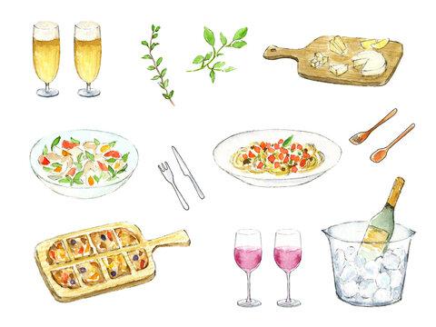 アルコール飲料と料理 水彩イラスト