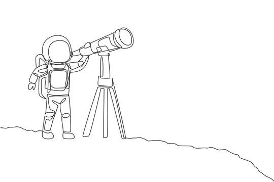 One continuous line drawing of young happy astronaut looking galaxy using telescope in moon surface. Space man deep space concept. Dynamic single line draw design vector graphic illustration