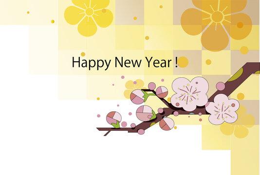 年賀状、和風な格子模様の背景に梅の花