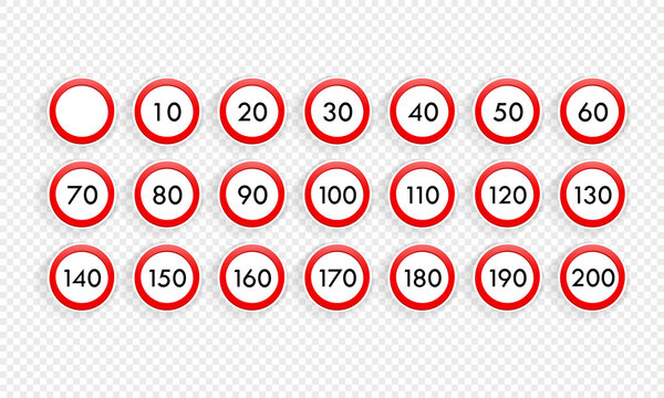Speed limit road sign icon set. Vector on isolated transparent background. EPS 10