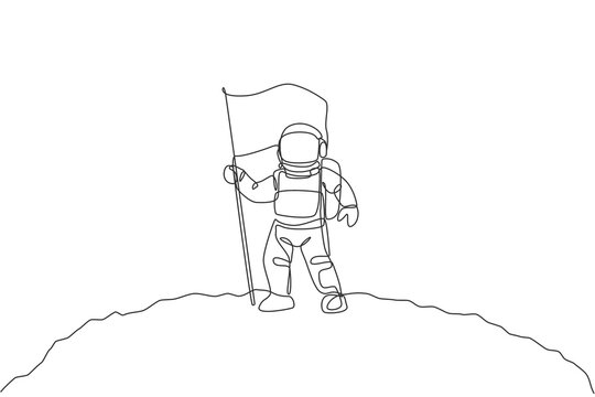 One single line drawing of space man astronaut exploring moon surface and planting the flag to mark it vector illustration. Fantasy outer space life fiction concept. Modern continuous line draw design