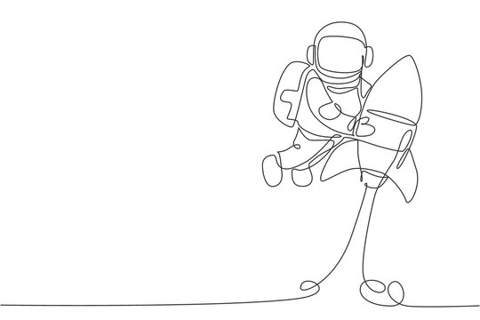 One single line drawing of astronaut in spacesuit floating and discovering deep space while holding rocket spaceship illustration. Exploring outer space concept. Modern continuous line draw design