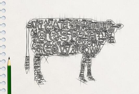 英単語で描いた芸術的な牛の鉛筆画