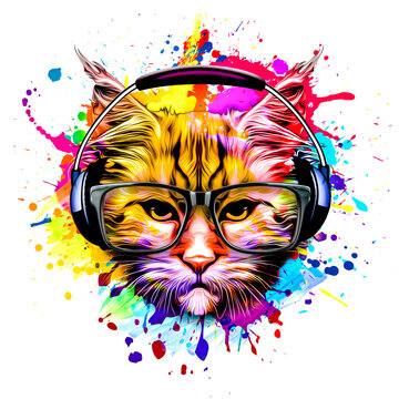 bright colorful art with cat head in glasses