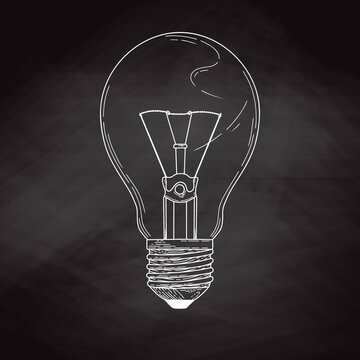 Sketch lightbulb isolated on a blackboard. Vector