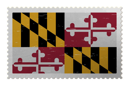 Maryland US flag on old postage stamp, vector