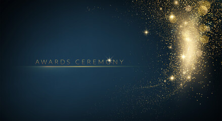 Fototapeta Award nomination ceremony luxury background with golden glitter sparkles