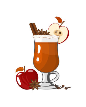 Hard Apple Cider Ale Or Punch Ready to Drink. Cocktail with cinnamon. Vector illustration of winter warming alchohol drink in flat style on white background