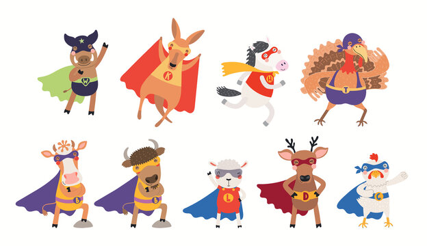 Cute animal superheroes big clipart collection, in masks, capes, flying. Isolated objects on white background. Hand drawn vector illustration. Scandinavian style flat design. Concept for kids print.