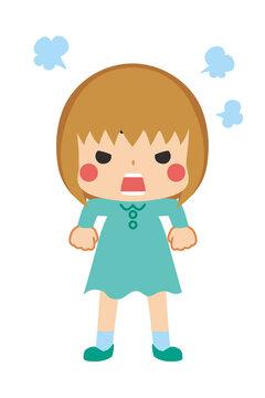 肩を怒らせプンプンと文句を言うご立腹の可愛い小さな女の子