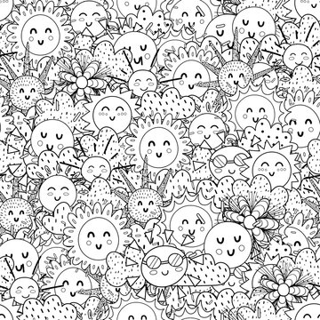 Black and white cute sun seamless pattern. Doodle summer anti stress coloring page