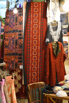 Typical Palestinian clothes, hand embroidered, Shuk, Jerusalem old city