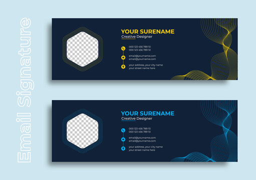 email signature personal portfolio information social media cover abstract yellow and blue design template