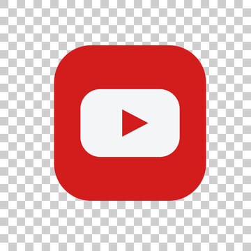 Red Youtube logo on a transparent background, vector editorial