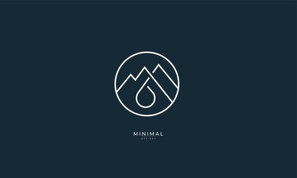 A line art icon logo of a mountain water