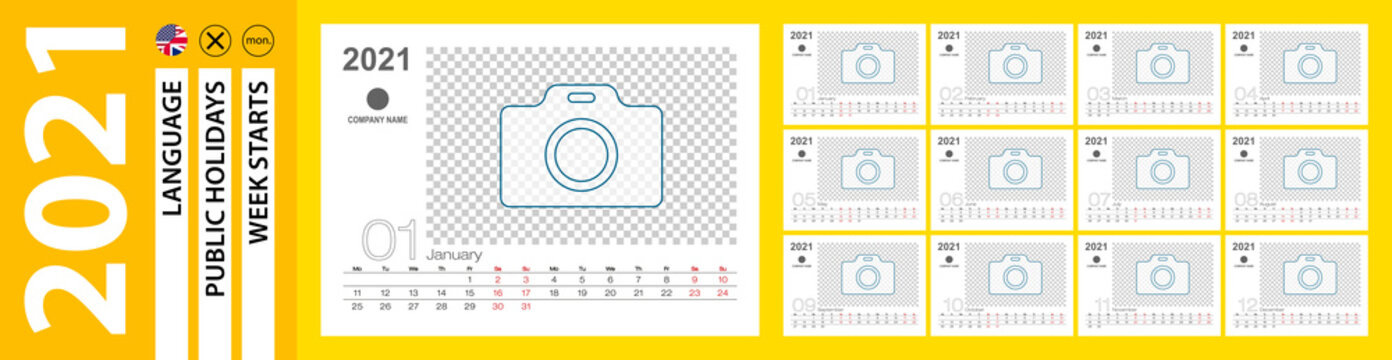 Desk Calendar for 2021 year, Monthly calendar with place for photo. Week starts on Monday.