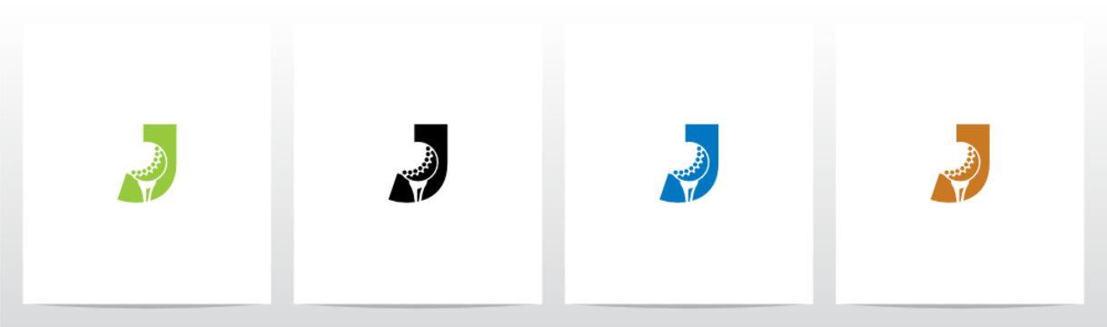 Golf Ball On Letter Logo Design J