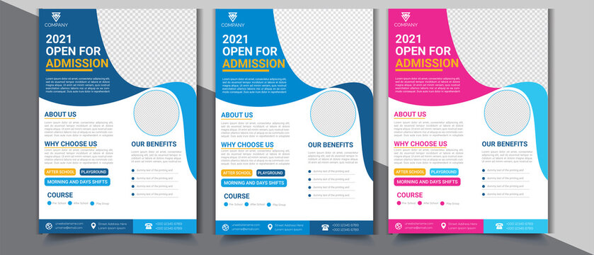 School Admission Flyer Design Template  with Multicolored